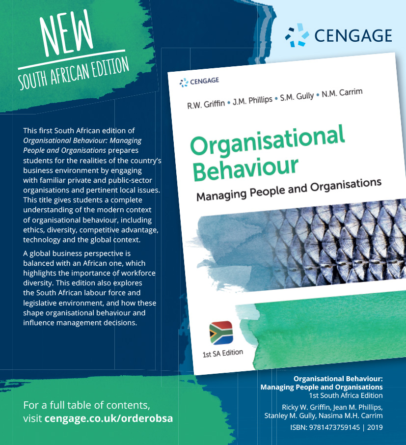 Cengage South Africa Organisational Behaviour Book Cover